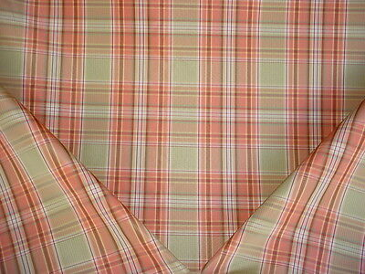 2-1/2Y Kravet / Lee Jofa Melon / Mint Green Silk Plaid Upholstery Fabric