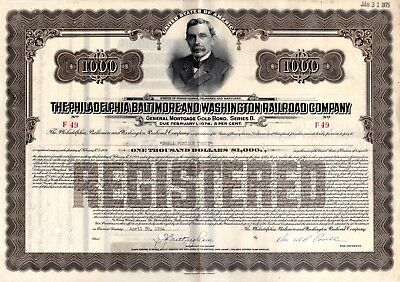 Philadelphia Baltimore and Washington Railroad $1000 Bond Certificate 1960s-70s