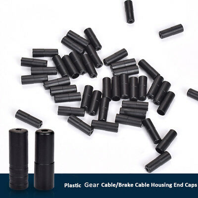 Bike Bicycle Gear Break Outer Cable End Caps Ferrules 4mm / 5mm Black Plastic