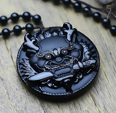 Natural Black Obsidian Hand Carved Dragon Head Lucky Amulet Pendant Necklace