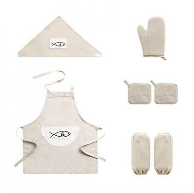 8PC/Set Cotton Linen Apron Kitchen Oven Mitts Sleeve Kerchief Cup Holder