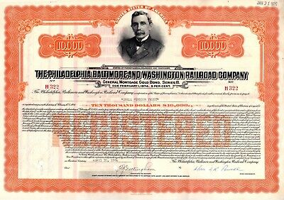 Philadelphia Baltimore & Washington Railroad $10,000 Bond Certificate 1960s-70s
