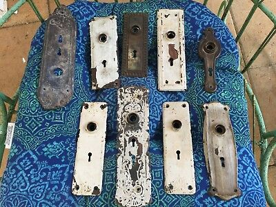 (9) Antique Assorted Door Plates - Various sizes and colors