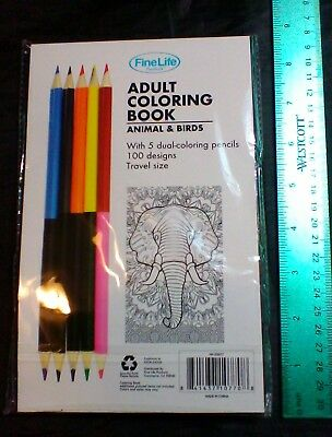 ADULT COLORING BOOK Animals And Birds With Pencils STRESS RELIEF Books BRAND NEW