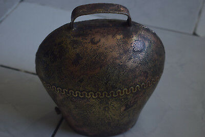 Antique Cow Bell Cast Iron Brass Cladded Large 6.5-inch Rare