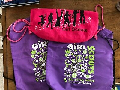 Lot of 3 GIrl Scout string bags - 2 new, 1 used - for carrying