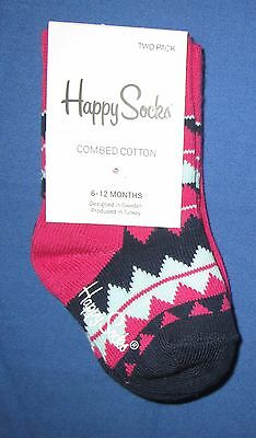 HAPPY SOCKS~Kids 6-12 Months~2 Pair Pink & Blue Zig Zag Socks~~Shoe Size 3-4