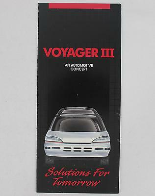 Chrysler 1990 Voyager III Concept Car Sales Brochure / Literature