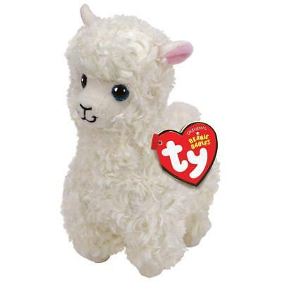 "TY Beanie Baby 8"" Lily White Llama Plush Animal Stuffed Toy MWMT's Ty Heart Tag"