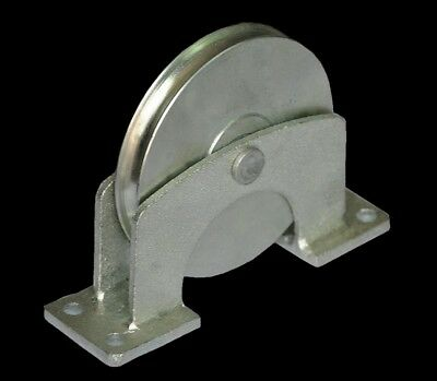 """Flat Mount Wire Rope Pulley Block 660 Lb Load Bolt-Down 1/4"""" Cable Galvanized"""