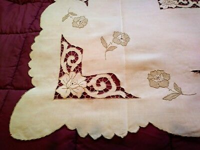 Nice Embroiderd, Applique and Cutwork Madeira Linen Tablecloth 49 Inches