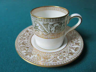 Wedgwood England  Antique Coffee Cup And Saucer Golden Florentine Pattern