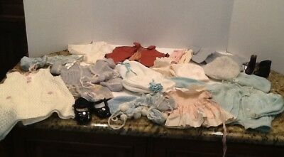 Lot Vtg Doll/ Baby Clothes, Bonnets, Sweater, Shirts, Jackets, Shoes, Booties