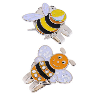 2x Portable Alloy Funny Bee Golf Ball Marker Magnetic Golf Hat Clip Gift