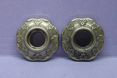 Set of 2 Vintage Victorian Nickel/Brass Door Knob Rosette Back Plate Escutcheon