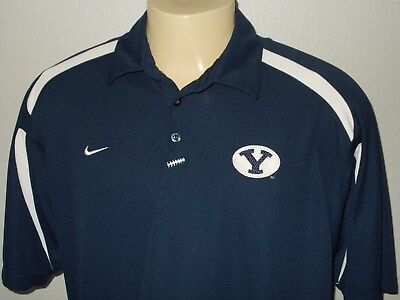 new concept 15a2c 8a551 Nike Fit Dry Byu Cougars Football Blue Ncaa Team Polo Shirt Men Xl