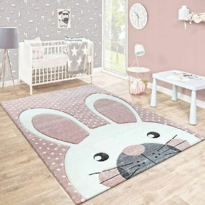 Baby Nursery Rug Pink White Grey Kids Animal Mats Childrens Play Bedroom Carpet
