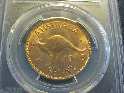 Australia  Penny 1949 (m)  PCGS Graded MS64 RD Coin RED Choice Uncirculated Nice