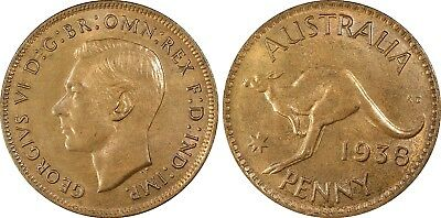 Australia  Penny 1938 m PCGS Graded MS64 RB Choice Uncirculated Coin 2nd highest