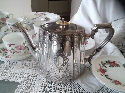 SUPERB Victorian ~ SILVER Plated ~ ORNATE Engraved TEAPOT ~ c1890 ~ ES&S