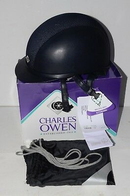 CHARLES OWEN Ayr8 Leather Look Riding Hat in Navy size 7 7/8 (64). RRP £225