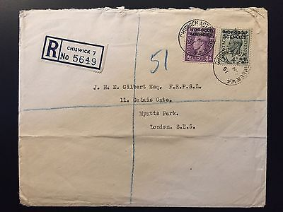 MOROCCO AGENCIES 1951 registered cover Chiswick to London