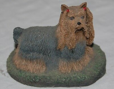 "Vintage Shih Tzu Figurine Mini Figure Statue Black Brown Red Bows 2"" Resin Dog"
