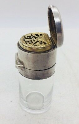 Antique English Sterling Silver & Glass Perfume Bottle Vinaigrette Combination