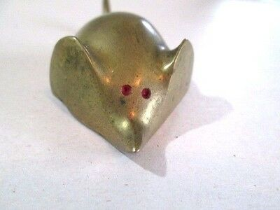 Small Collectible Brass Animal Mouse Vintage 1970's Brass Red Enamel Accent