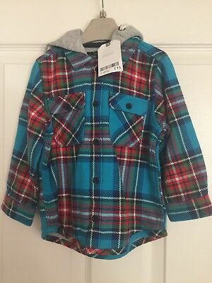 Next Boys Check Hooded Jacket/Shirt Size 12-18 Months