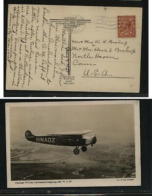 Great   Britain  post card Fokker plane  KLM to US     EC0325