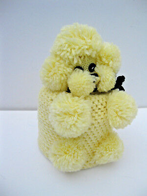English Vintage Handcrafted Poodle Toilet Roll Cover Yellow Acrylic Wool New