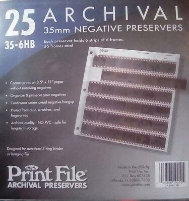 Film Archival Preservers 35-7B, 25 Pages Negative Sleeves for 35mm film - 3 hole