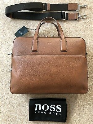 cd7185baf1 Hugo Boss Laptop Document Bag - TAN BROWN Leather - Made In Italy - RRP £