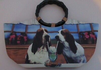 Collectible Basset Hound Ladies Handbag New Without tags, wooden handles