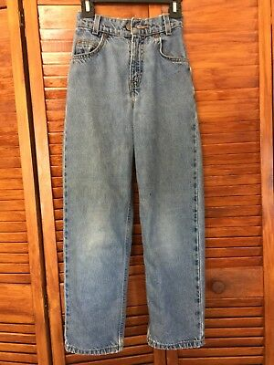 Vintage LEVI'S Jeans - Orange Tab - Kid's Sz 8 Slim - medium wash blue distress
