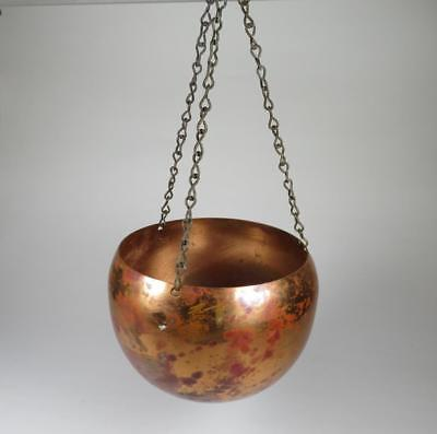 Vtg Small Copper Hanging Planter Pot 3 3/8 in. Tall, 4 1/8 in. Across Cauldron