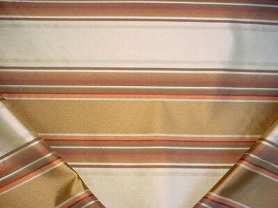 9-3/4Y Zensilk Gold Sunset Red Sable Creme Silk Stripe Drapery Upholstery Fabric