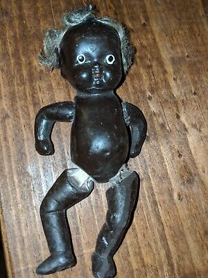 "Vintage Antique Bisque Porcelain Jointed Black Americana 4"" Baby Doll Japan"