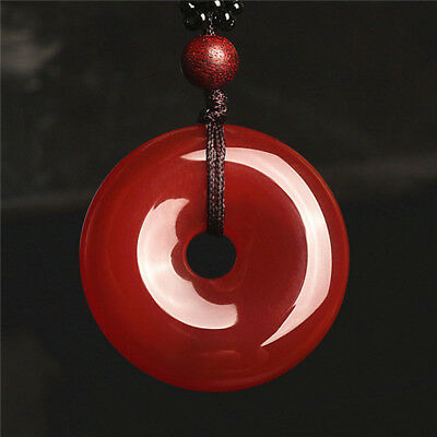 2018 China hand-carved Natural Agate Jade Circle Donut Pendant Necklace Amulet