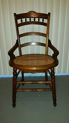 Vtg Antique  Dining Ornate Wood Caned Cane Seat Hip Rest Chair