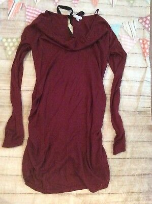 A Pea In The Pod Maternity Dress Sweater Side Ruching Bow Medium Red Holiday