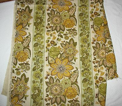 "VTG Waverly Bonded Old Saybrooke Fabric Heavy Wt Gold Green Natural 53""LX49""W"