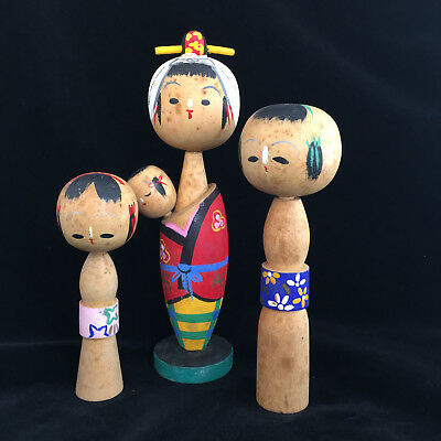 Vintage Kokeshi Wooden Doll Folk Japan Family Dolls Mid Century