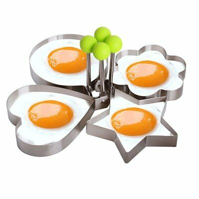 Kitchen Stainless Steel 4 Shapes Fried Egg Mold Ring Shaper Pancake Ring Tool US