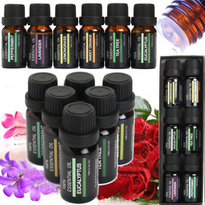 ESSENTIAL OILS SET Of 6 100% Pure Aromatherapy kit 10mL Bottles Gift Box ON