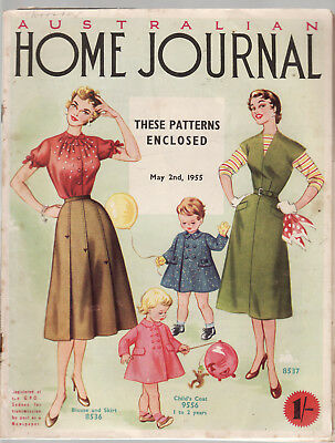 AUSTRALIAN HOME JOURNAL fashion clothing vintage magazine 1955 + PATTERNS   C