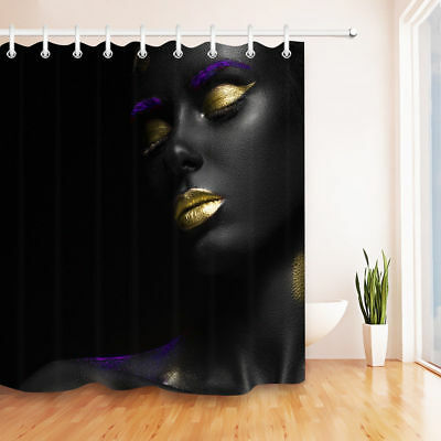 Make Up Afro American Girl Shower Curtain Liner Bathroom Polyester Fabric Hooks
