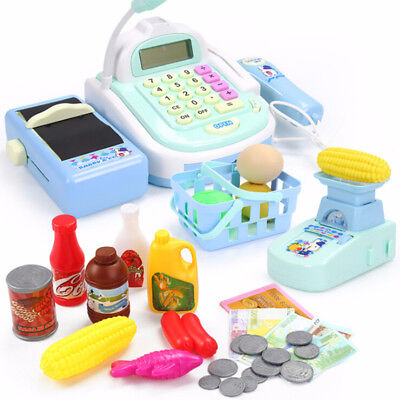 Kids Electronic Mini Cash Register Toy Pretend Supermarket Child Boys Play Games