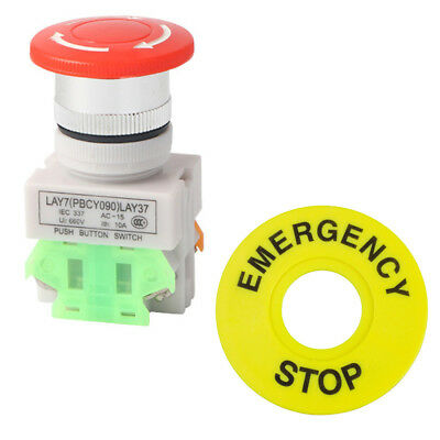 1NO 1NC DPST Emergency Stop Latching Push Button Switch 10A Mushroom Cap